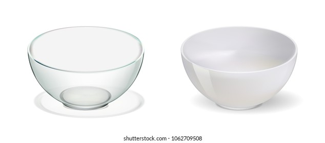 Glass and ceramic bowl set illustration. Realistik bowl on white backgraund. 3d