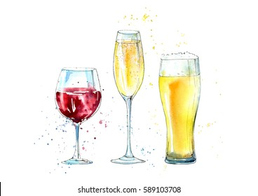 Glass of a champagne, beer and wine. Picture of a alcoholic drink.Watercolor hand drawn illustration
