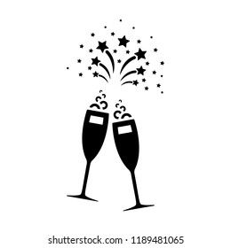 Glass of champagne black icon. Sparkling wine celebration pictogram