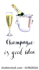 Glass of champagne with bottle in metal container, watercolor, hand drawn - Illustration