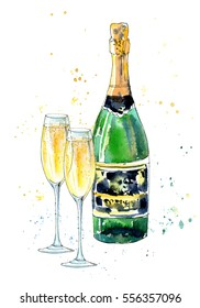 Glass of a champagne and bottle. Picture of a alcoholic drink.Watercolor hand drawn illustration