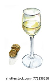A glass of champagne and a bottle stopper on white background, watercolor sketch