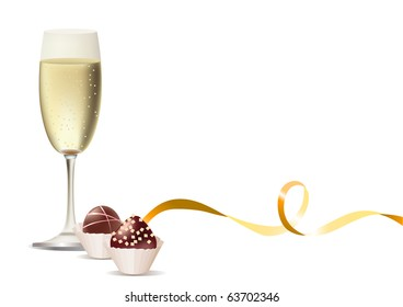 Glass of champagne and sweets and ribbon. Raster version. Vector version is in my gallery.