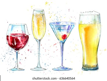 Glass of a champagne,martini, wine, beer. Picture of a alcoholic drink.Watercolor hand drawn illustration.
