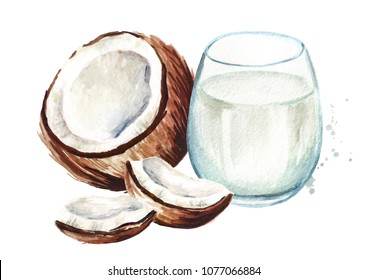 Glass of coconut milk with cracked coconut. Watercolor hand drawn illustration,  isolated on white background