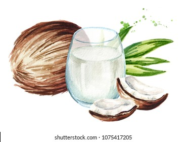 Glass of coconut milk with coconut and green leaves. Watercolor hand drawn illustration,  isolated on white background