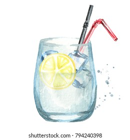 Glass of coctail with lemon and ice cubes. Watercolor hand drawn illustration