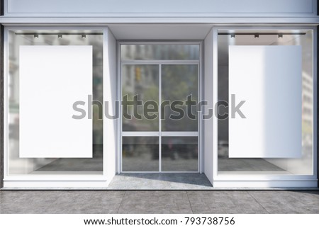 Glass Coffee Shop Facade Two Vertical Stock Illustration Royalty