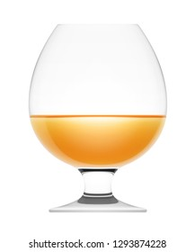 Glass of cognac isolated on a white background, 3D illustration.