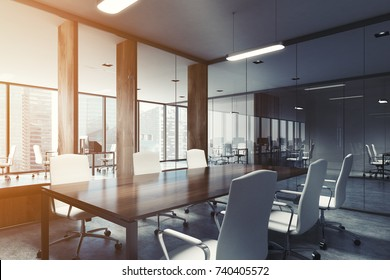 Glass conference room interior corner with a concrete floor, a long wooden table with white chairs and panoramic windows. 3d rendering toned image