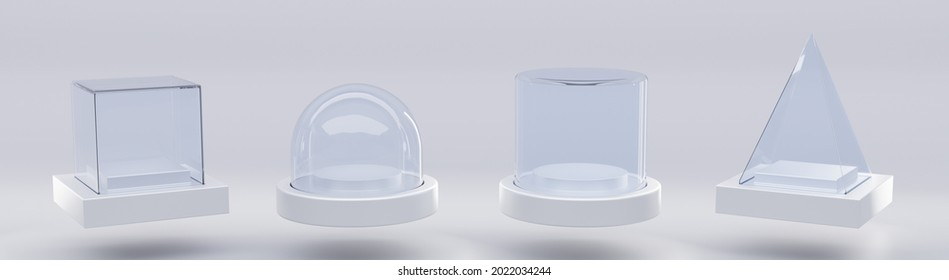 Glass cube box, pyramid, cylinder, sphere or dome on white stand isolated on grey background. Mockup empty clear showcases of plexiglass or acrylic for display on plastic podium. Realistic 3d set