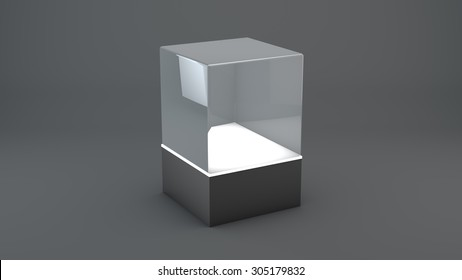Glass cube on black background with lights