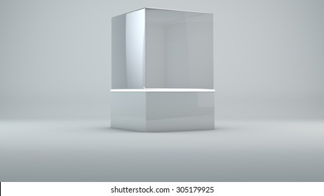 Glass cube on white background with lights