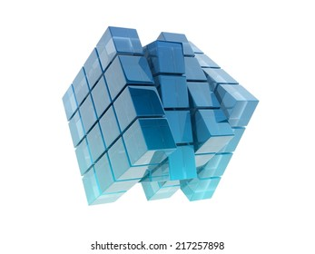 glass cubes on white background.