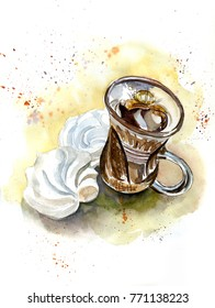 Glass Cup with coffee and marshmallows, watercolor sketch