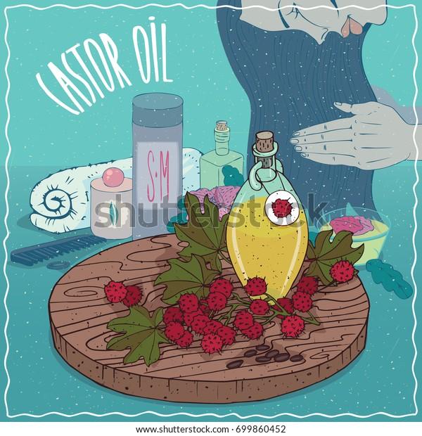 Glass Decanter Castor Oil Seeds Castorbean Stock Illustration 699860452