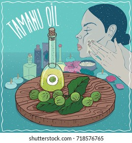 Glass Decanter of Tamanu oil and fruits and leaves of Calophyllum plant. Girl applying facial mask on face. Natural vegetable oil used for skin care. Raster version of illustration