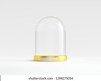 Glass dome with golden tray on white background. 3d illustration.