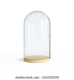 Glass dome on the wooden tray, Glass bell isolated on white background 3d rendering