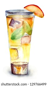 Glass of drink with Ice cubes, watercolor illustration