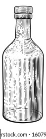 Glass drinks bottle in a vintage retro woodcut etching or engraved style