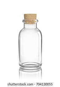 Glass empty bottle with cork isolated on white. 3D rendering with clipping path