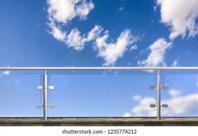 glass fence with clouds sky in background. 3D illustration