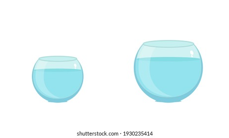glass fishbowl with clean water wavy surface