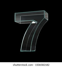 Glass font 3d rendering, number 7