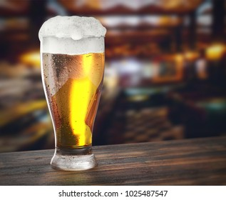 glass of fresh beer on the wooden table in a brewery, 3D illustration