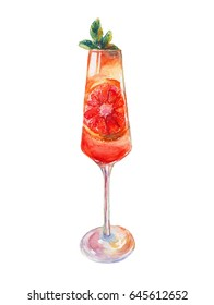 A glass of fruit champagne. Red orange and mint in champagne. Watercolor illustration isolated on white background. High quality illustration, suitable for print and web.