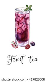 Glass of fruit tea with mint, hand drawn - watercolor Illustration