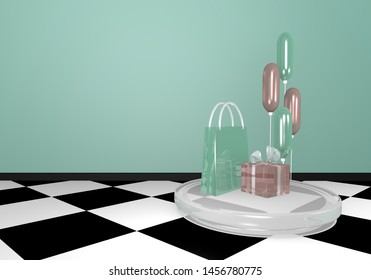 glass gift set in mint green and pink. 3d rendering