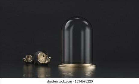Glass Gold Tube 3D Render