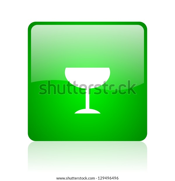 glass green square web icon on white background
