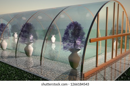 Glass Greenhouse in close up, 3d rendering