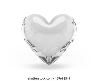 Glass of heart on white background. 3d render.