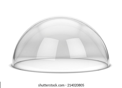 Glass hemisphere. 3d illustration isolated on white background