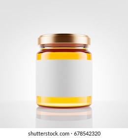 Glass jar of honey with  blank label over white background. Mock up. 3d rendering