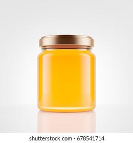 Glass jar of honey  over white background. Mock up. 3d rendering