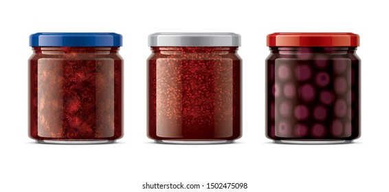 Glass Jar with Jam. 3d rendering