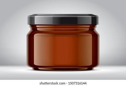 Glass Jar Mockup on Background. 3d rendering