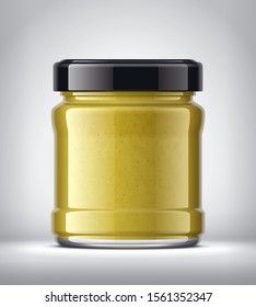 Glass Jar with Mustard on Background. 3d rendering