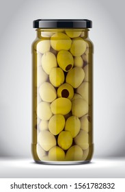 Glass Jar with Olives on Background. 3d rendering