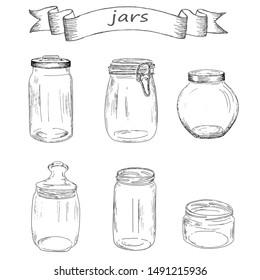 Glass jar set of sketches.  Vintage design with hand drawn sketch. Line art style.