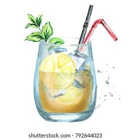 Glass of lemon ice tea. Watercolor hand drawn illustration