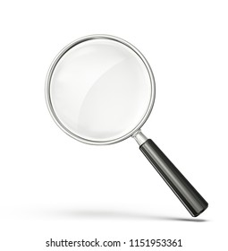 glass magnifier isolated on a white. 3d illustration