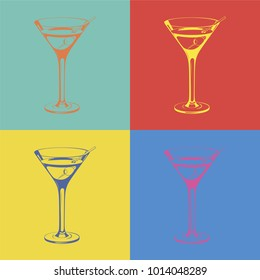 Glass of Martini in pop art style