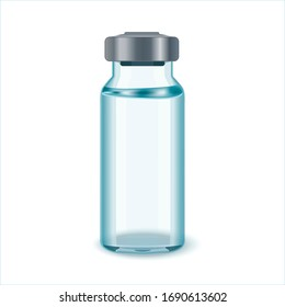 Glass Medicine Vial with aluminium cap. Flu or coronavirus vaccine.Glass Vial of In Injection Solution on white Background.