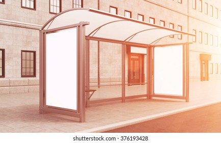 A glass and metal bus stop with a small bench and space for advertising. A house at the background. Side view. Filter. Concept of waiting for public transport. 3D rendering.
